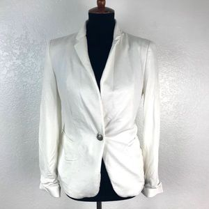 Zara Women's 100% Cotton One Button Blazer Jacker